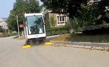全封闭电动扫地车视频(清扫树叶)