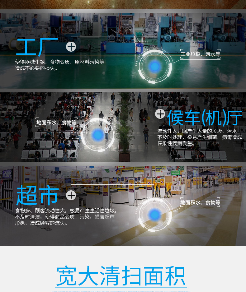 洁博士洗地机适用于超市、候车厅、工厂等场所